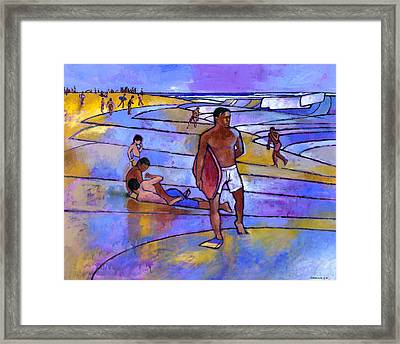 Boogieboarding At Sandy's Framed Print