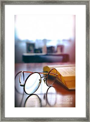 Book And Glasses Framed Print by Carlos Caetano
