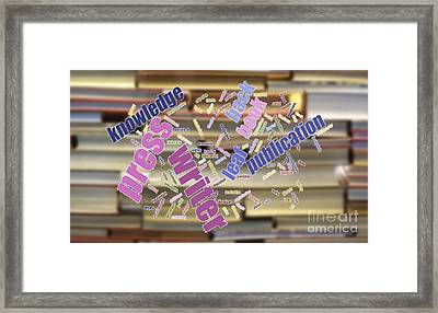 Book And Publication Background And Wordcloud Framed Print
