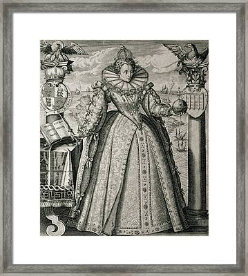 Book Frontispiece Celebrating Queen Elizabeth I's Happy And Prosperous Reign Framed Print by English School