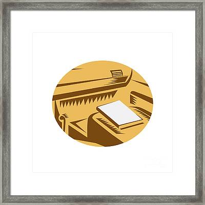 Book On Car Seat Driver Point Of View Circle Woodcut Framed Print by Aloysius Patrimonio