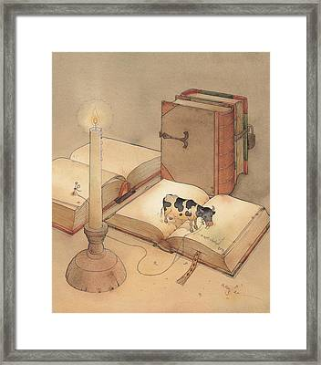 Bookish Cow Framed Print by Kestutis Kasparavicius
