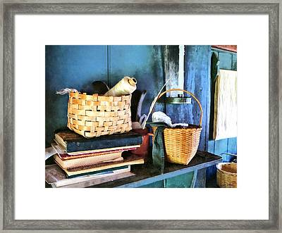 Books And Baskets Framed Print by Susan Savad