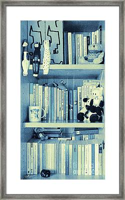 Books Are Blue Today Framed Print by Jutta Maria Pusl