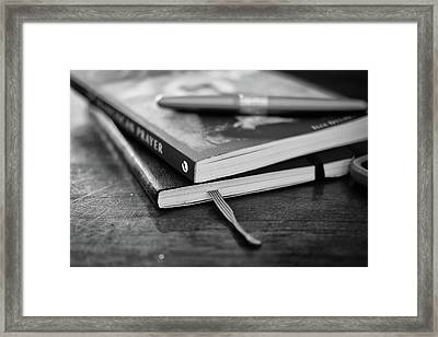 Framed Print featuring the photograph Books, Journal And Pen by Monte Stevens