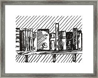 Bookshelf 1 2015 - Aceo Framed Print
