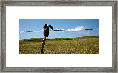 Boot And Barbed Wire Fence Ne Framed Print by Panoramic Images