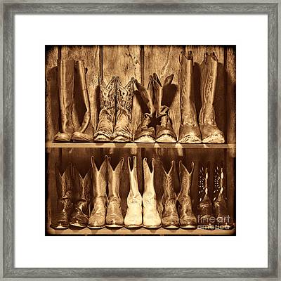 Boot Rack Framed Print by American West Legend By Olivier Le Queinec