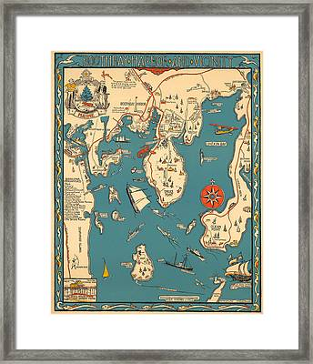 Boothbay Harbor And Vicinity - Vintage Illustrated Map - Pictorial - Cartography Framed Print