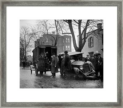 Bootleggers Car Wreck With Paddy Wagon Moonshine And Police Inspectors 1922 Framed Print