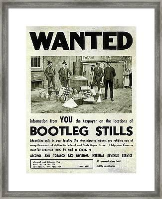 Bootleggers Wanted Poster Framed Print by Jon Neidert