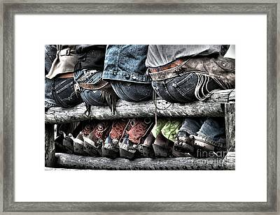 Boots And Butts Framed Print by Heather Swan