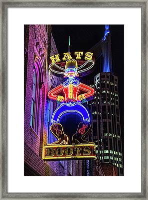 Boots And Hat Neon Sign Framed Print