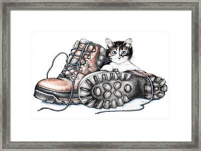 Boots And Kitten Framed Print by Sandra Moore