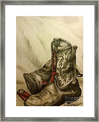 Boots And Shells Framed Print by Angie Sellars