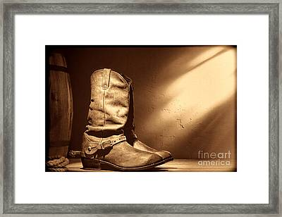 Boots At The Hacienda  Framed Print