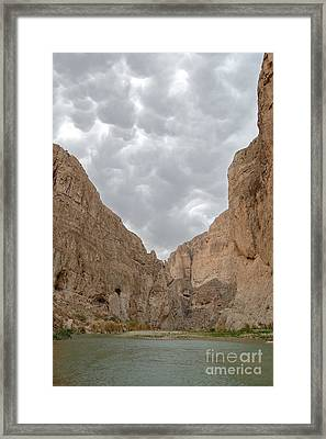 Boquillas Canyon And Scalloped Clouds Big Bend National Park Texas Framed Print