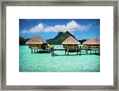 Bora Bora Bunaglows Framed Print by Doug Sturgess