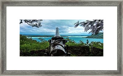 Bora Bora Wwii Cannon Overlooking The Lagoon Wide Angle Framed Print by Mark Preston