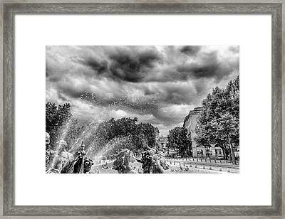 Bordeaux Fountains In The Park Framed Print by Georgia Fowler