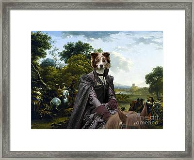 Border Collie Art Canvas Print - Landscape With A Hunting Party Framed Print