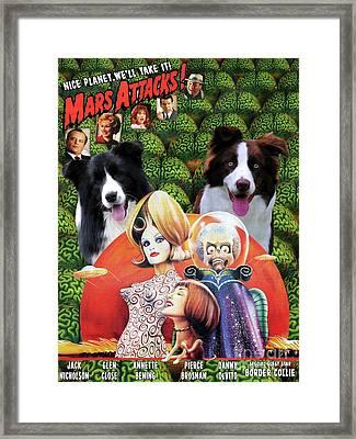 Border Collie Art Canvas Print - Mars Attacks Movie Poster Framed Print