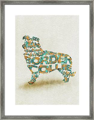 Border Collie Watercolor Painting / Typographic Art Framed Print