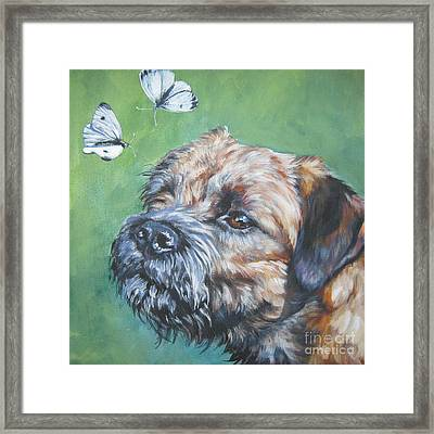 Border Terrier With Butterflies Framed Print by Lee Ann Shepard