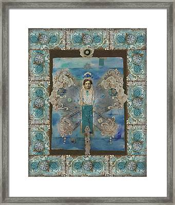 Bordered Angel With Blue Stripe Framed Print
