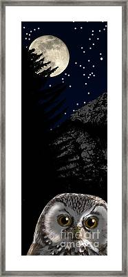 Framed Print featuring the painting Boreal Owl Or Tengmalm's Owl - Aegolius Funereus - Nationalpark Gesaeuse Xeis by Urft Valley Art