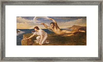 Boreas And Orithyia Framed Print by Oswald von Glehn