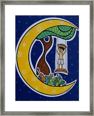 Borincano En La Luna Framed Print by Mary Tere Perez