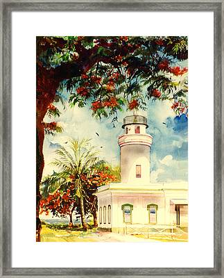 Borinquen Lighthouse Aguadilla Puerto Rico Framed Print by Estela Robles