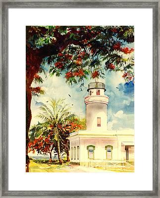 Borinquen Lighthouse Aguadilla Puerto Rico Framed Print by Estela Robles