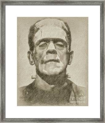 Boris Karloff As Frankenstein Framed Print by Frank Falcon