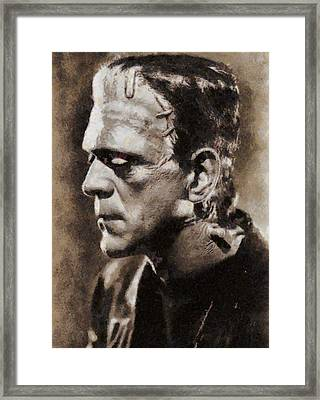 Boris Karloff As Frankenstein Framed Print by John Springfield
