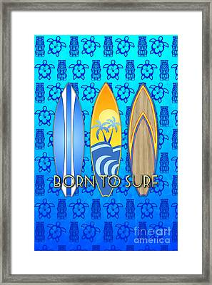 Born To Surf And Tiki Masks Framed Print