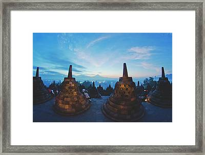 Borobudur Temple, Indonesia At Dusk Framed Print