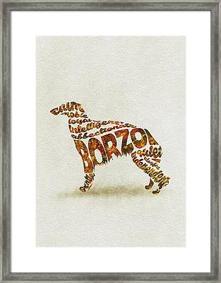 Framed Print featuring the painting Borzoi Dog Watercolor Painting / Typographic Art by Inspirowl Design