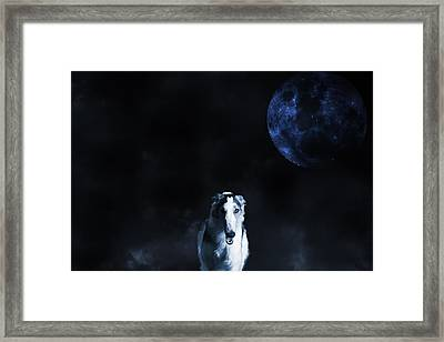 Borzoi Wolf-hound, Hunting Under A Full Moon Framed Print by Christian Lagereek