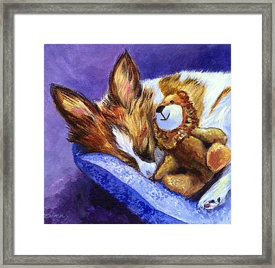 Bos And The Lion - Papillon Framed Print