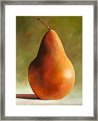 Bosc Pear Framed Print by Toni Grote