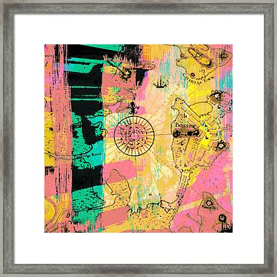 Boston Abstract Compass V2 Framed Print by Brandi Fitzgerald