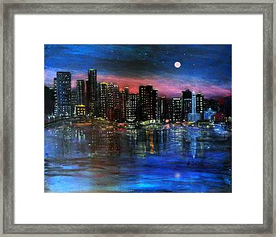 Boston At Night Framed Print