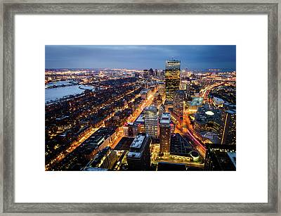 Boston At Night Framed Print by Michael Weber