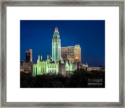 Boston Avenue Methodist Church At Twilight Framed Print by Tamyra Ayles