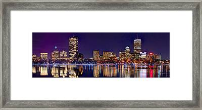 Framed Print featuring the photograph Boston Back Bay Skyline At Night 2017 Color Panorama 1 To 3 Ratio by Jon Holiday