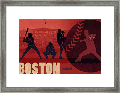 Boston Baseball Team City Sports Art Framed Print by Design Turnpike