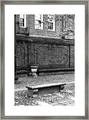 Boston Bench Bw Framed Print by John Rizzuto