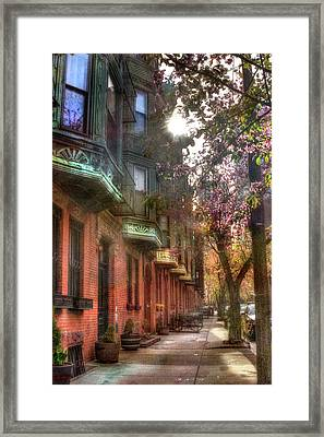 Boston Brownstones In Spring Framed Print by Joann Vitali